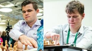 Magnus Carlsen y Vladislav Artemiev, en las partidas blitz.