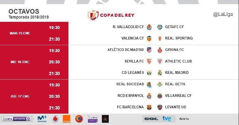 Copa Del Rey Horarios De Los Partidos De Vuelta De Octavos De La Copa Del Rey Marca Com