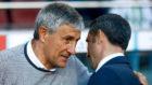 Setién saluda a Valverde en el último Barcelona-Betis