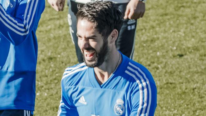 Isco, durante el entrenamiento previo al partido ante el Villarreal.