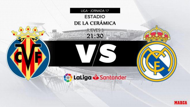 Villarreal - Real Madrid, hoy 3 de enero a las 21:30 horas.