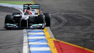Schumacher, con el Mercedes W03, en el GP de Alemania de 2012