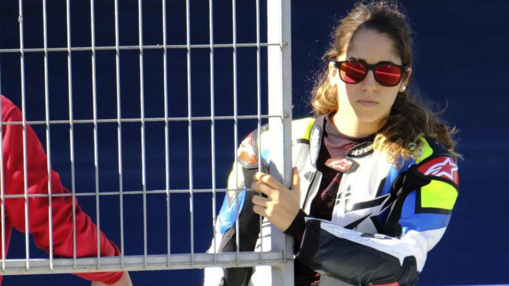 María Herrera, en los test de MotoE en Jerez.