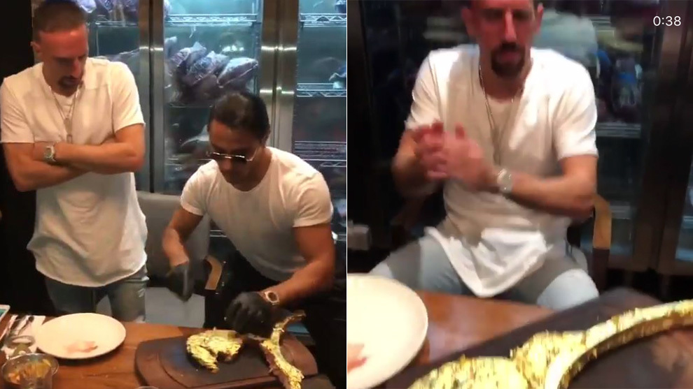 Ribery before eating the gold-covered steak