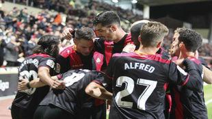 Los jugadores del Reus celebran un gol