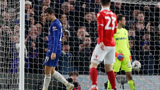 Morata tras marca uno de los goles logrados ante e Notthingam.