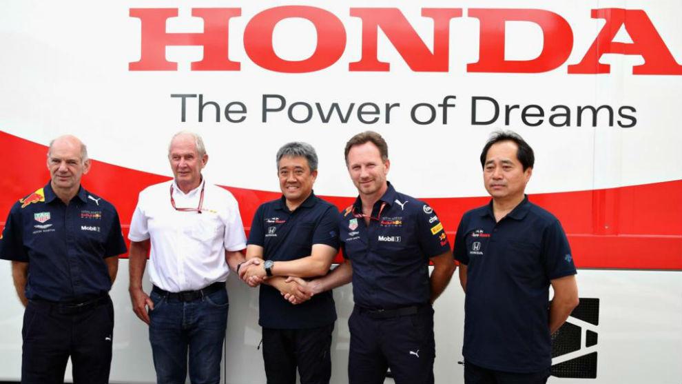 Marko, Horner, Newey y los responsables de Honda