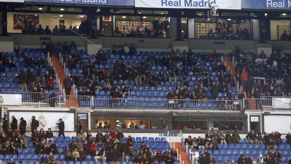 Image of the empty stands at the Bernabeu during the Real Madrid-Real...