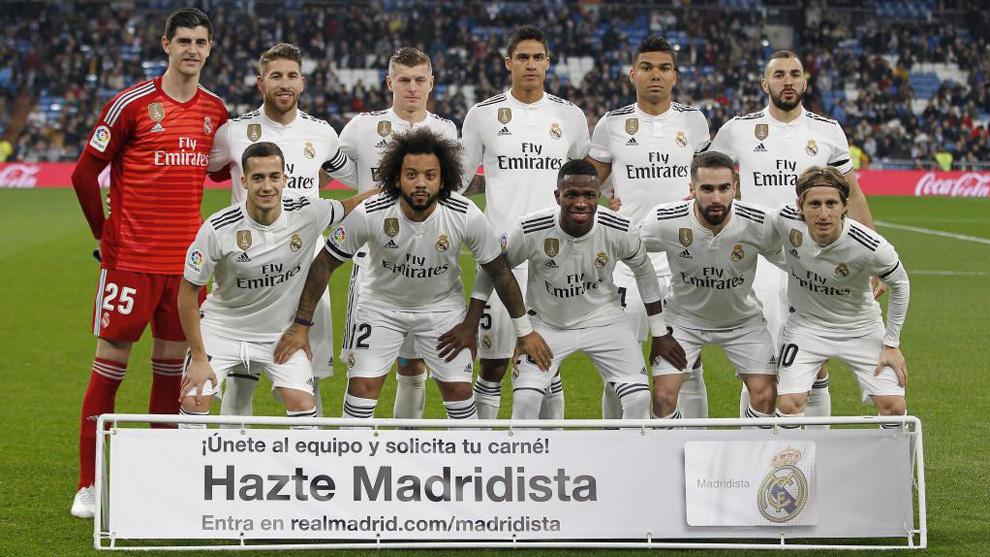 El once del Madrid ante la Real Sociedad.