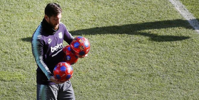 Messi, en el entrenamiento de puertas abiertas.