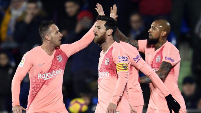 The Catalan side celebrate one of their goals against Getafe.