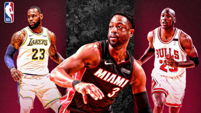 6f3b811a800 Dwyane Wade joins Michael Jordan and LeBron James in an exclusive club. NBA  Scored his 500th three pointer for Miami Heat