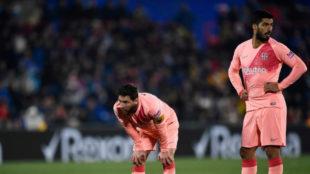 Messi y Suárez, en el Coliseum de Getafe.