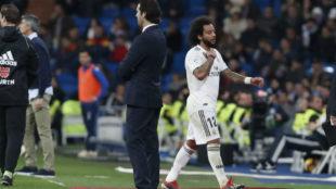 Marcelo, en el momento del cambio ante la Real Sociedad.