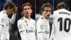 Modric, en distintos instantes del partido contra la Real