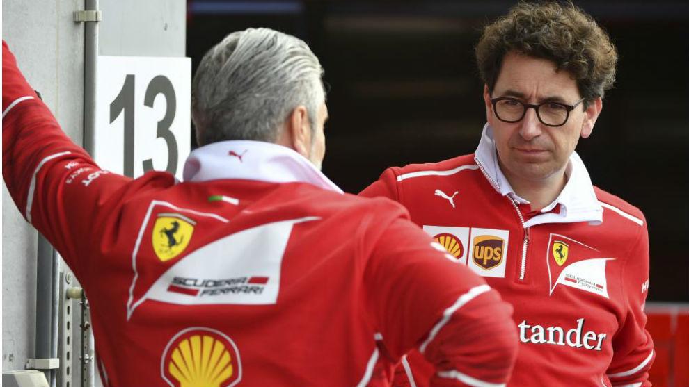 Binotto y Arrivabente, durante el pasado GP de Bélgica.