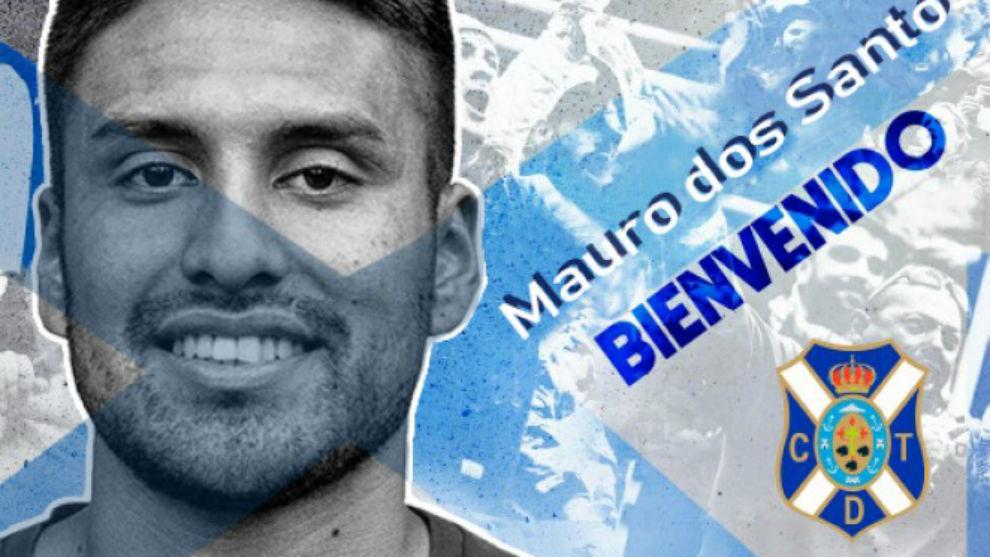 Cartel de bienvenida que le hizo el Tenerife a Mauro dos Santos