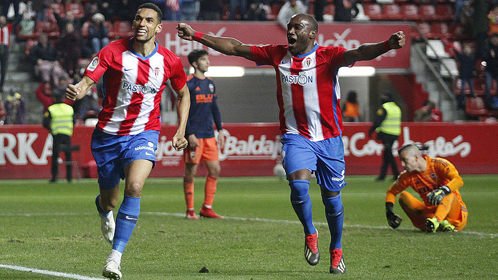 Blackman celebrates the winning goal against Valencia.
