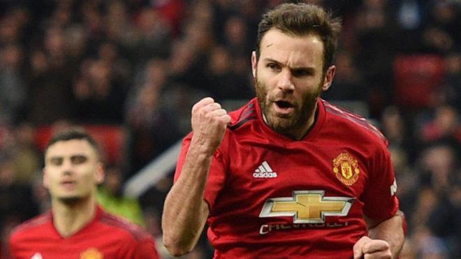 Mata celebra un gol reciente con el United.