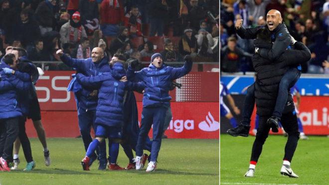 Abelardo celebra el triunfo del Alavés en Girona... y ante el Real...