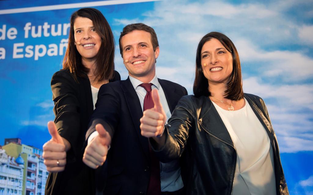 Ruth Beitia, Pablo Casado, presidente del PP, y Gema Igual, candidata...