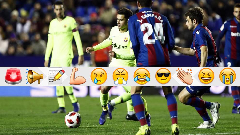 Coutinho, en el partido del Barça contra el Levante en Copa