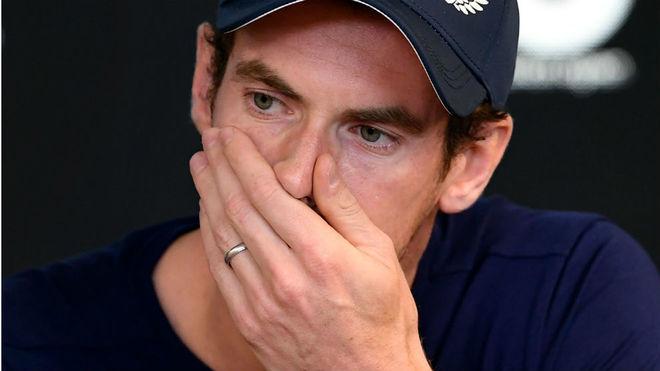 Andy Murray, desolado, durante la rueda de prensa en el Abierto de...