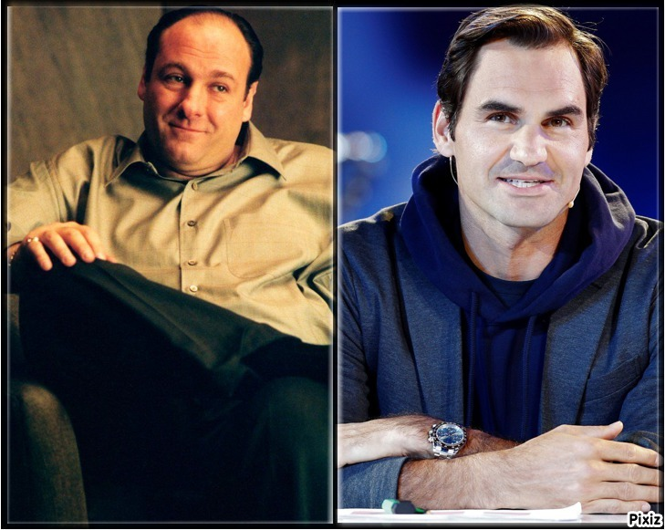 James Gandolfini como Tony Soprano y Roger Federer