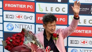 Miura, durante la celebración de su 50 cumpleaños.
