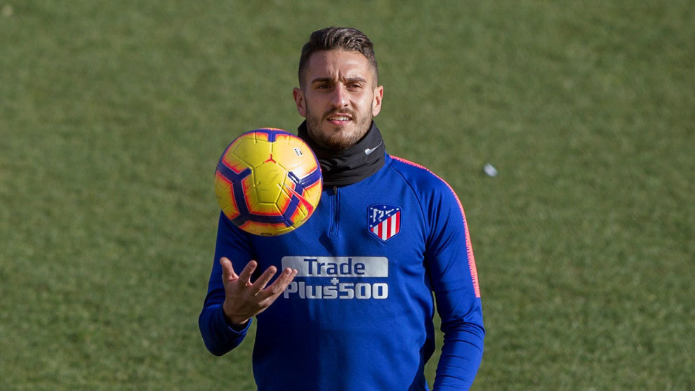 Koke during an Atletico Madrid training session.