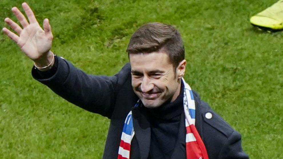 Gabi, en su despedida en el Wanda Metropolitano.