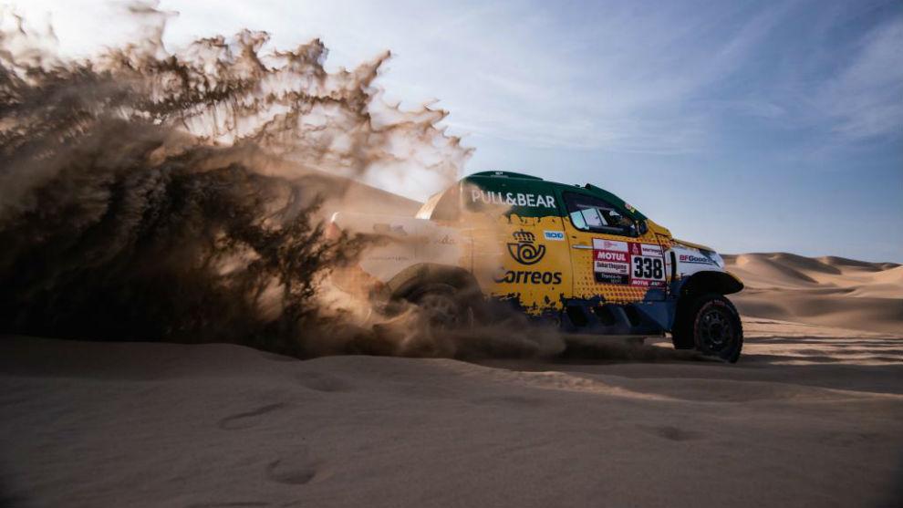 Jesús Calleja, durante la etapa de ayer del Dakar