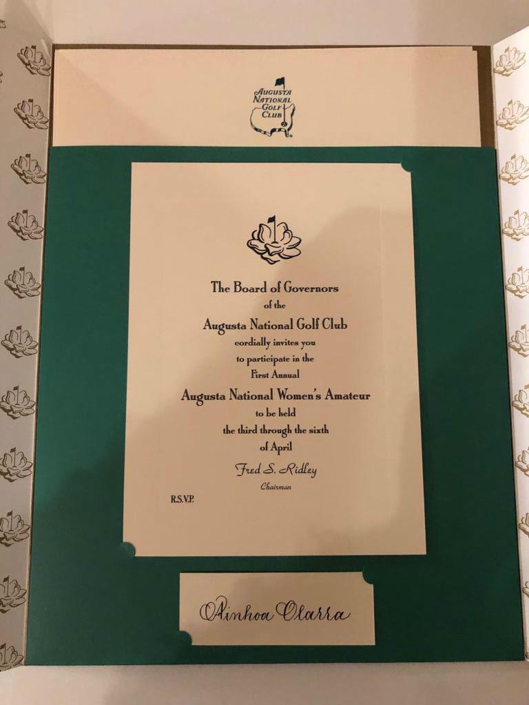 La invitación para jugar en Augusta que recibió ayer Ainhoa Olarra.