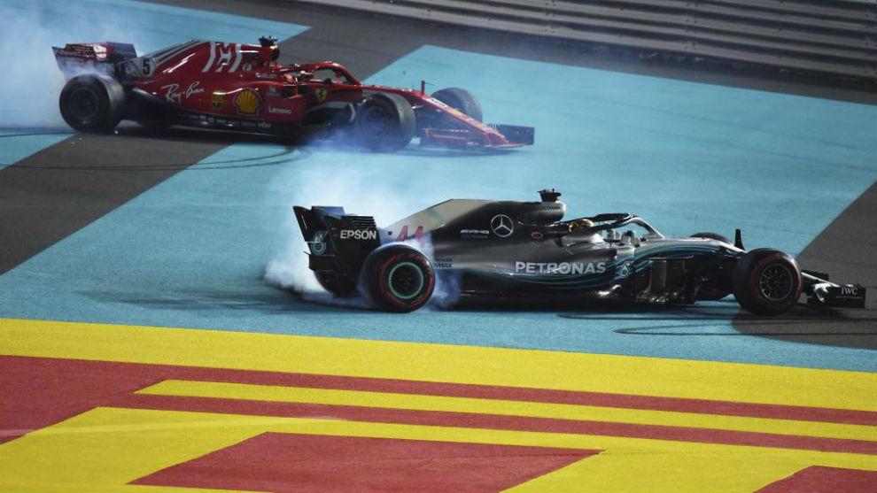 Hamilton y Vettel, en la última prueba de 2018 en Abu Dabi.