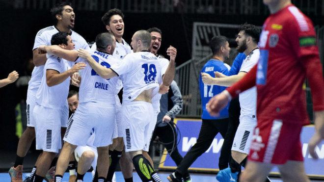 Los jugadores chilenos celebran la victoria sobre Austria /