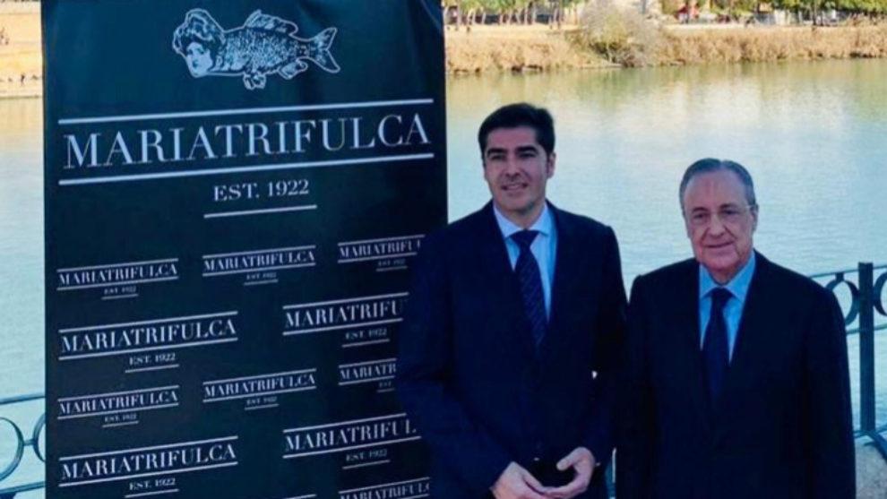 Ángel Haro y Florentino Pérez, antes de la comida de directivas.