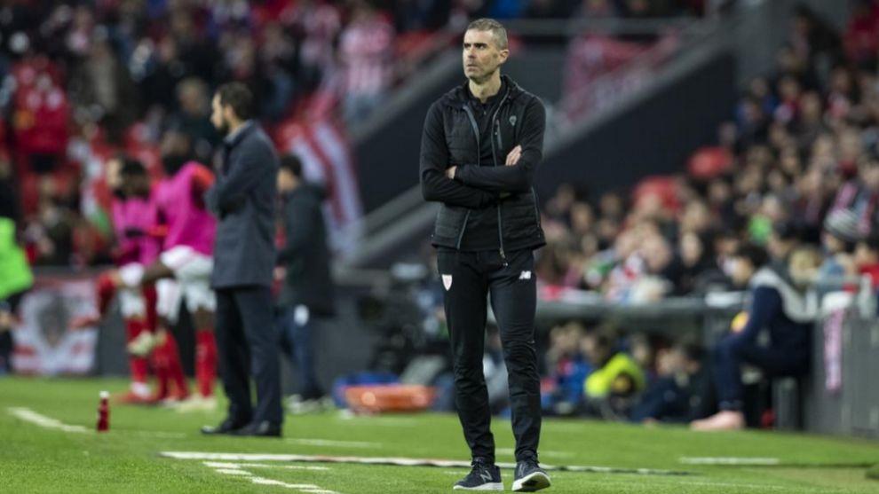 Gaikza Garitano, en un momento del partido contra el Sevilla.