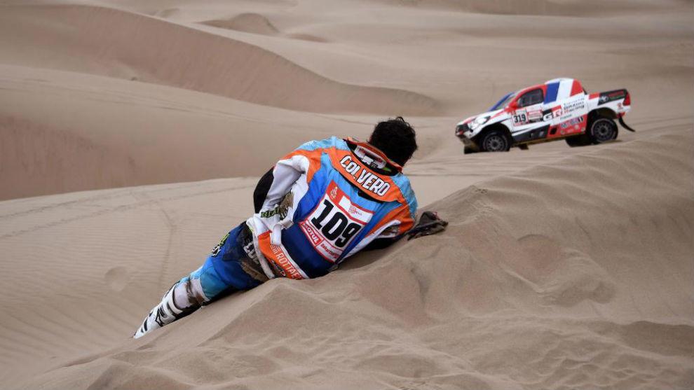 Marcos Colvero, tras su caída en la tercera etapa.
