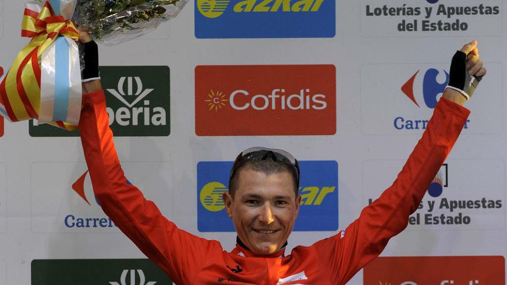 Janez Brajkovic, líder de la Vuelta 2013 tras la crono por equipos en...