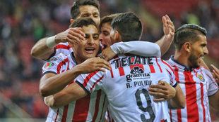 Festejo del Rebaño tras un gol de Alan Pulido.