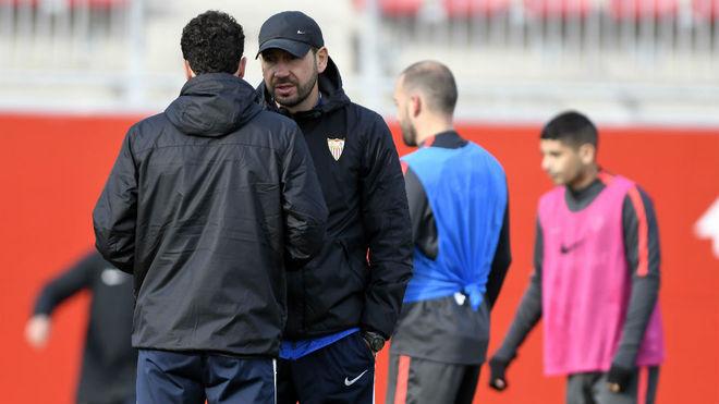 Pablo Machín, en el entrenamiento de esta mañana.