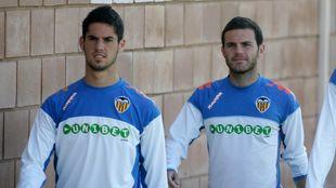Juan Mata e Isco durante su etapa en el Valencia
