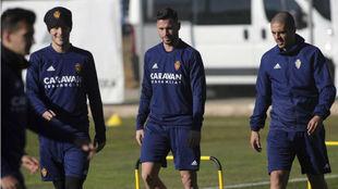 Ávaro, junto a Gual y Verdasca en un entrenamiento.