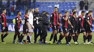 Los jugadores del Reus tras el partido ante el Málaga.