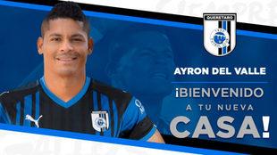 Ayron del Valle, nuevo jugador del Querétaro.