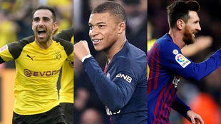 Paco Alcacer, Kylian Mbappe and Lionel Messi