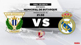 Leganés - Real Madrid, hoy a las 21:30 horas el partido de vuelta de...