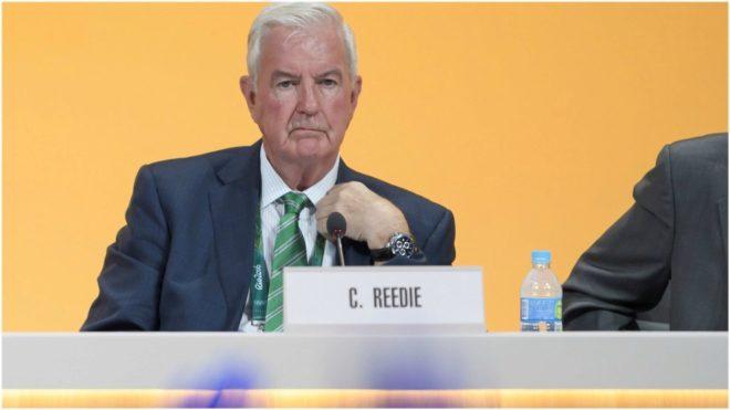 Craig Reedie, presidente de la AMA, durante una rueda de prensa