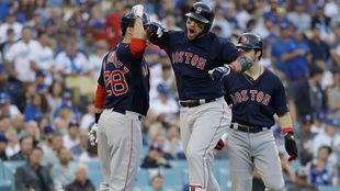 Los Red Sox en festejo durante la Serie Mundial