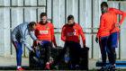 Vitolo alongside Saul during Atletico's training session.